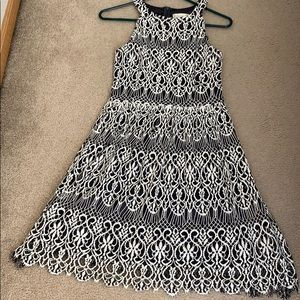 Dark gray and ivory lace overlay dress